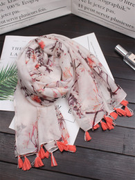cotton ethnic scarf Canada - 2018 New Art Retro Ethnic Style Chinese Style Plum Pattern Printing Cotton and Linen Scarf Summer Sunscreen Shawl Beach Shawl