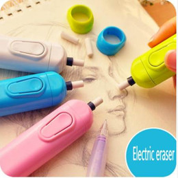 electric pencil eraser NZ - Sunwood battery operated eraser electric eraser automatic school supplies leather stationery child day gift material escolar