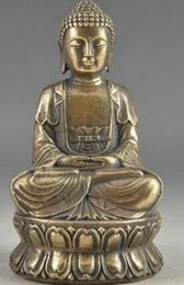 real brass NZ - Bless Collectable Chinese Brass Old Amulet Buddha Statue Garden Decoration 100% real Brass Bronze