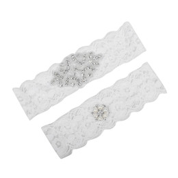Wholesale leg bow for sale - Group buy Plus Size Bridal Garters Crystals Pearls for Bride Lace Wedding Garters Belt White Cheap Wedding Leg Garters Real Picture