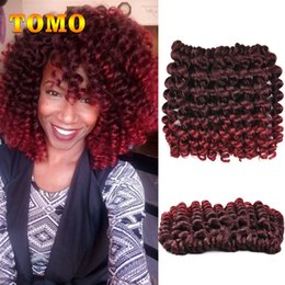 Curl Hair Curling Wand Australia - TOMO Jamaican Bounce Curly Twist Ombre Burgundy Brown Crochet Braids Wand Curl Braided Hair 8 inch 20 Strands pack Crochet Hair Extensions