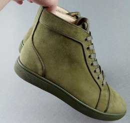 army green shoes Canada - New Mens Womens High Top Green Suede Red Bottom Sneakers, Designer Gentleman Luxury Lace-up Casual Shoes size 35-46