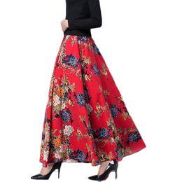 54e5f95855 Fashion Long Skirt Women Casual Vintage Print Maxi High Waist Skirts  Elegant Cotton Linen Plus Size Pocket Pleated Skirts Q631