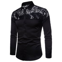 Discount mens white high collar shirt - Mens Shirts Long Sleeve High Quality 2018 Autumn New Fashion Slim Fit Lace Shoulder Mens Business Shirts Camisa Masculin