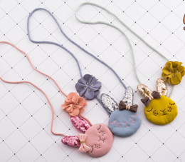 princess kids necklaces 2019 - Kids necklace sweet girls sequins stereo rabbit ears pendant necklace children jewelry girls beaded flowers princess acc