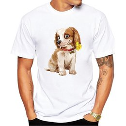 2018 novo cão bonito com flor impressa moda impressão t-shirt moda masculina t-shirt tops roupas dos homens acessórios camisas venda por atacado