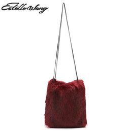 3d387cb97a 2018 New Estelle Wang Casual Tote Faux Fox Fur Shoulder Bags Fashion Women  Winter Warm Soft Plush Handbag High Quality Bag