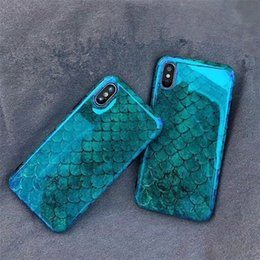 Fish phone case online shopping - Blu Ray Phone Case For iPhone X XR XS Max Fish Scale Soft TPU IMD Phone Back Cover For Iphone Plus