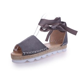 4c98fab89eba Brown plus Size sexy women s sandals Ribbon shoes solid Summer casual flat  with Roman retro sandals cheap female loafer Lace-Up sandals