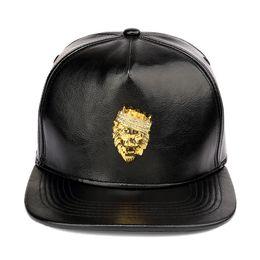 9710584c0ff NYUK Mens Luxury Adjustable PU Leather Gold Rhinestone Crown Lion Head Baseball  Caps Black Snapback Hats Men Women Hip Hop Cap