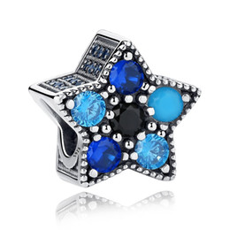Chinese  New 100% 925 Sterling Silver Jewelry Bright Star Crystal Beads With Blue Crystal Fit Charm Bracelet Diy Jewelry Making Accessories manufacturers