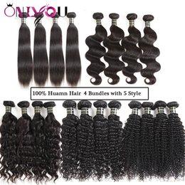 Discount mixed color peruvian hair weave - Onlyou Mink Brazilian Virgin Hair Wefts 4 Bundles Silk Straight Body Deep Water Kinky Curly Indian Remy Human Hair Exten