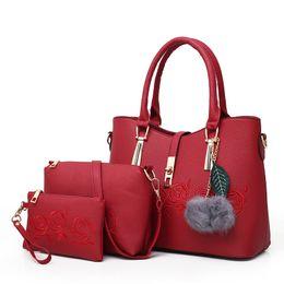 EmbroidEry lady bags online shopping - Luxury Leather Embroid Handbag Composite Bags Set Ladies Shoulder Crossbody Messenger Women Bag Purse Clutch Wallet