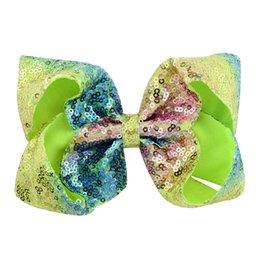 Toptan satış Perakende 20 Renkler 8 Inç Sevimli Bebek Kız JOJO Pullu Firkete Blingbling Saç Klip Şerit Bowsknot Firkete Butik Çocuklar Renkli Tokalarım