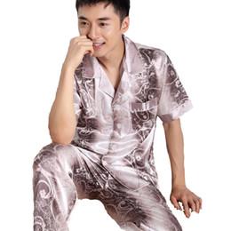 cc16dca865 2018 new pyjamas men silk pajama sets short sleeve pijamas sexy male  pajamas sleepwear satin nightgown chinese robe