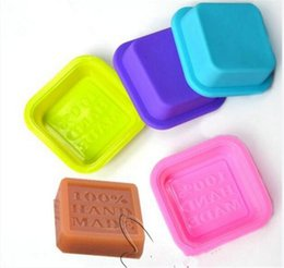 Wholesale Art Molds UK - 200pcs Craft Art Square Silicone Oven 100% Handmade Soap Molds DIY Soap Mold Baking Moulds Random Color C178