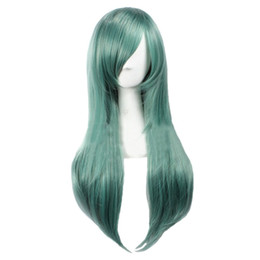 anime long wigs 2019 - Women's Straight Party Cosplay Costume Full Wigs Long Green cheap anime long wigs
