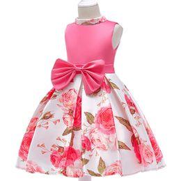 $enCountryForm.capitalKeyWord UK - flower Girls dress Printed princess party dress rose children's clothes girl wedding party dress summer kids baby girl tutu clothing