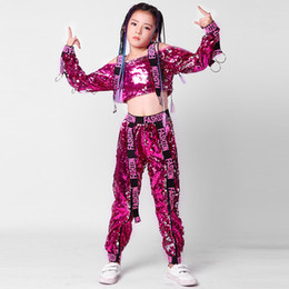 8dce693aa2c Tie Kids Dance Costumes Sequin Jazz Hip Hop Performance Costumes Set For  Children Contemporary Dancing Costume For Girls DL3124