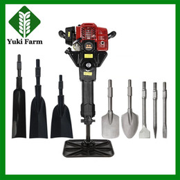 Wholesale Gasoline power hammer drill rock drill breaker petrol picks portable tree digging planting machine gasoline tamping rammer