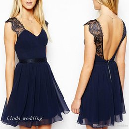 b974a670e Vestido de fiesta corto azul marino oscuro hermoso una línea V cuello  encaje gasa sin respaldo concurso mujeres visten ocasión especial vestido  de fiesta de ...
