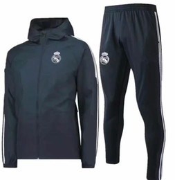 China 2018 2019 real madrid soccer tracksuit Hooded jacket 18 19 ronaldo football hooded Windbreaker Lewandowski HOODIE SUIT cheap jacket real madrid suppliers