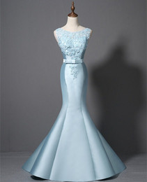 $enCountryForm.capitalKeyWord NZ - 2018 Mermaid Prom Dresses Light Sky Blue Long Women Ladies Dresses for Party Summer Dresses Beaded Lace Appliques Formal Gowns