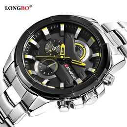 smallest watch 2019 - LONGBO mens watch three small dial decoration Sports quartz watches for man stainless stell wristwatch timepiece discoun