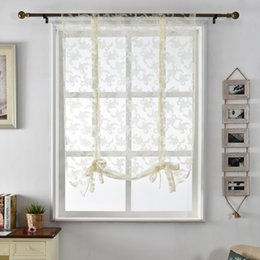 China Kitchen curtains jacquard tulle roman blinds floral white sheer fabrics window treatment short door curtains home textile supplier jacquard window suppliers