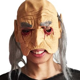 Wig Grey Australia - Halloween Half Face Mask Scary Bloody Latex Clown Masks Grey Wig Cosplay Horror Masquerade Adult Ghost Party For Props