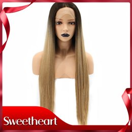Discount straight blonde wig roots - Sweetheart Fashion Two Tones High Temperature Fiber Natural Long Straight Blonde Ombre Dark Roots Synthetic Lace Front W