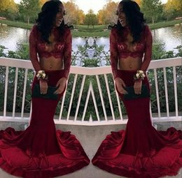 sexy celebrities dress girls Australia - Black Girls Two Pieces 2018 High Neck Burgundy Prom Dresses Mermaid Long Sleeves Lace Appliques Illusion Celebrity Party Evening Gowns