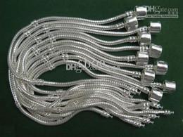 23cm Silver Bracelets Australia - 60pcs silver plated Eur Bracelets gemmy steel rig lock mix size 18cm-23cm