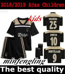 7e89bdda22387 Nouveau 2018/2019 Ajax enfants kit Soccer Jersey 18/19 Ajax loin  Personnalisé # 10 KLAASSEN # 34 NOURIB livraison gratuite football uniforme