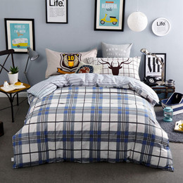 $enCountryForm.capitalKeyWord Canada - 100% Cotton Blue Grey Plaid Beddings Stripe Bed Sheet Sets Boys Adults 4 5PC Quilt Cover 400TC Full Queen Sizes Deer Pillow Sham