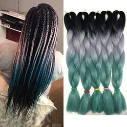 $enCountryForm.capitalKeyWord Australia - Jumbo Braid Kanekalon Hair Three Tone Xpression Ombre Braiding African Crochet Braids 24 inch 100g Synthetic Hair Blonde White Blue Green