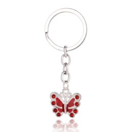 $enCountryForm.capitalKeyWord UK - The butterfly key chain Metal with rhinestone key ring Multicolor Europe and USA hot selling small gifts