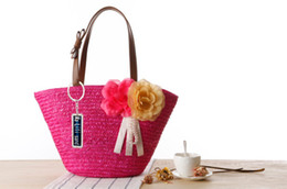 bag hand flowers NZ - New Anti-Lost Garden Two Flowers Straw Solid Color Shoulder Bag Hand-Woven Bag Beach Bag Handbag