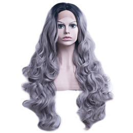$enCountryForm.capitalKeyWord UK - Womens Two Tone Hand Tied Lace Front Hair Full Wig Black Gray Curly 31 Inches