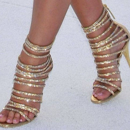 $enCountryForm.capitalKeyWord NZ - Plus Size 10 Gold Glitter Strappy Sandals Women Cut-out Thin Heels Summer Dress Shoes Back Zipper Gladiator Sandals Boots