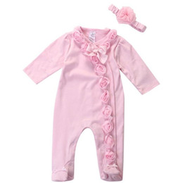 ae5f272f7a Baby Girls Pink Flowers jumpsuits clothes Infant newborn bodysuits onesies  clothing set warm long sleeve rompers with headband