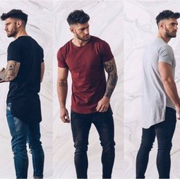 $enCountryForm.capitalKeyWord NZ - Summer Men Tshirts Fashion Slim Fit Solid Color Long O-neck Tees Short Sleeved Tops Front Short Back Long Tee