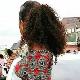 Afro Kinky Hair Shipping Australia - afro kinky curly human hair ponytail extensions 120g drawstring human hair clip in ponytail Malaysian remy Hair pieces ship free dhl