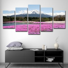 Mounting Canvas Prints Australia - Home Wall Art Decor Pictures HD Prints Posters 5 Pieces Mount Fuji Snow Mountain Pink Flowers Sea Landscape Paintings