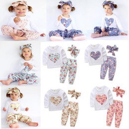 $enCountryForm.capitalKeyWord Australia - INS Baby Girl Heart-shaped Print Suits Kids Toddler Infant Long Sleeve T-shirt + Trousers+Hair Band 3pcs Casual Sets