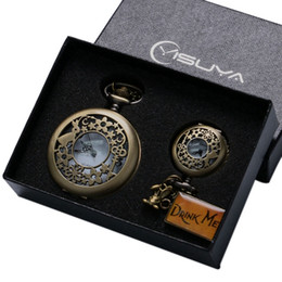 Retro Bronze Alice In Wonderland Drink Me Tag Women Rabbit Flower Pocket  Watch Necklace Pendant Novelty Christmas Gifts Box Sets 7537f787f