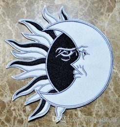 free sew patches Canada - HOT SALL! ~Free Shipping~Black Sun White Moon Iron On Patches, sew on patch,Appliques, Made of Cloth,100% Guaranteed Quality