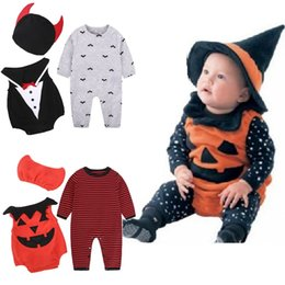 China Halloween Baby Boy Clothes Sets Wizard Costumes Newborn Rompers Hat 3PCS Suits Pumpkin Bat Infant Jumpsuits Star Outfits 0-2Year Bodysuits suppliers