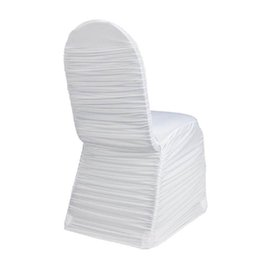 $enCountryForm.capitalKeyWord UK - High Quality Universal Spandex Ruched Wedding Party Chair Covers White Spandex lycra Ruffled Chair Cover for Wedding Party Hotel Banquet