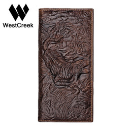 Chinese  Vintage Unique Design Tiger Pattern Genuine Leather Men's Wallets High Quality Real Leather Man Purse by GMW011 manufacturers